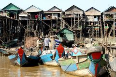 Floating village in Cambodia Royalty Free Stock Photos