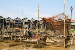Floating village in Cambodia Royalty Free Stock Photo