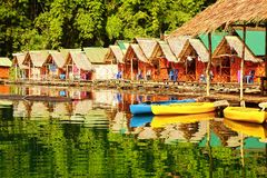 Floating village on Cheow Lan Lake. Stock Photos