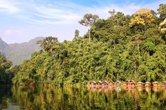 Floating village on Cheow Lan Lake. Stock Images