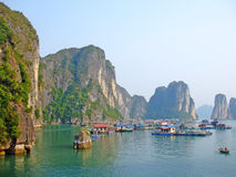 Floating village in Ha Long bay Stock Photos