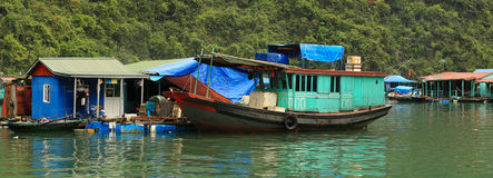 Floating Village. In Halong Bay Vietnam Royalty Free Stock Photos