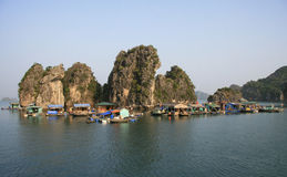 Floating village in Halong Bay, Vietnam Stock Photo