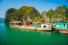 Floating village in Halong Bay, Vietnam royalty free stock image