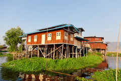 Floating village house in Inle Lake, Myanmar Stock Image