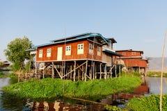 Floating village house in Inle Lake, Myanmar Stock Image