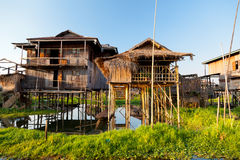 Floating village houses in Inle Lake, Myanmar Stock Photos