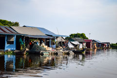 Floating village houses near Siem Reap in Cambodia. The houses are relocated a few times each year to gain optimal weather. Transport is by small boats, some royalty free stock images