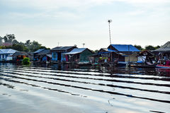 Floating village houses near Siem Reap in Cambodia Stock Images
