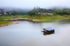 Floating village at KANCHANABURI Province of Thailand Royalty Free Stock Photo