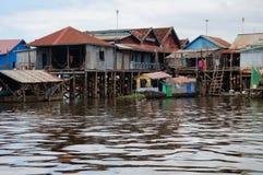 Floating village, lake tonle sap. Tonle sap lake in Cambodia, floating village Royalty Free Stock Image