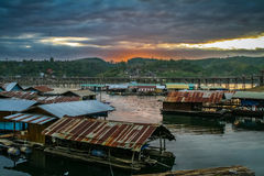 The floating village and longest Mon wooden bridge Stock Images