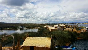 Floating Village. A floating village made of reeds on lake titicaca Royalty Free Stock Photos