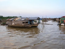 Floating village on Mekong River in Cambodia Stock Images