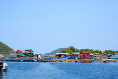 Floating village Royalty Free Stock Image