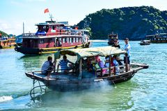 Floating village and rock islands in Halong Bay, Vietnam, Southeast Asia Stock Photo