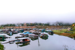 The floating village in Sangkhlaburi, Thailand Royalty Free Stock Photos