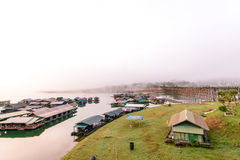 The floating village in Sangkhlaburi, Thailand Royalty Free Stock Images