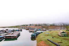 The floating village in Sangkhlaburi, Thailand Stock Images