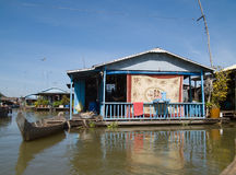 Floating village on Tonle Sap, Cambodia Royalty Free Stock Images