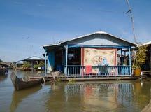 Floating village on Tonle Sap, Cambodia Royalty Free Stock Images