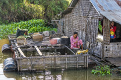 In the floating village on Tonle Sap lake, Cambodia Stock Photos