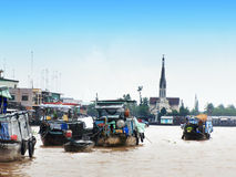 The floating Village in vietnam Stock Photography