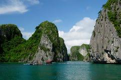 Floating village in Vietnam, Halong Bay Stock Photo