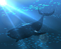 Floating Whale. The great whale floating in the ocean deep. Illustration in realistic style Stock Photography