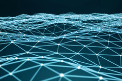 Floating white and blue glowing dot network 3D rendering Stock Photography