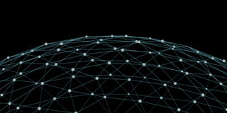 Floating white and blue glowing dot network 3D rendering Stock Images