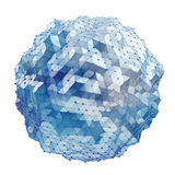 Floating white and blue glowing sphere network 3D rendering Royalty Free Stock Photography