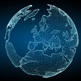 Floating white and blue planet earth network 3D rendering. Floating white and blue planet earth network on blue background 3D rendering Royalty Free Stock Photography