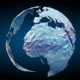 Floating white and blue planet earth network 3D rendering. Floating white and blue planet earth network on blue background 3D rendering Stock Image
