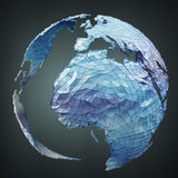 Floating white and blue planet earth network 3D rendering. Floating white and blue planet earth network on grey background 3D rendering Stock Photo