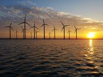 Floating wind farm at dusk Royalty Free Stock Photo