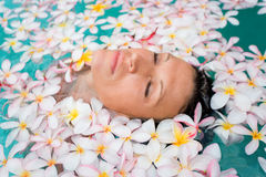 Floating woman spa Stock Photo