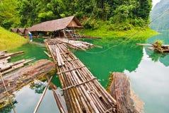 Floating wood house at Ratchaprapha dam Royalty Free Stock Photography