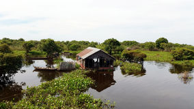 Floating wooden house,  Tonle Sap, Siem Reap, Cambodia Royalty Free Stock Photography