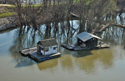 Floating wooden houses Royalty Free Stock Images