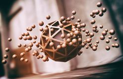 Floating Wooden Spheres Abstract Background Stock Photography