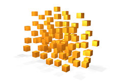 Floating yellow cubes Royalty Free Stock Photos