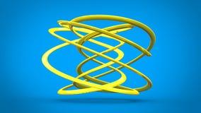 Floating yellow minimalist flow sculpture royalty free illustration