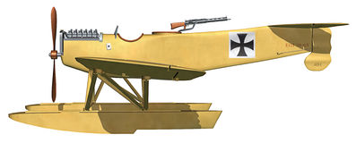 Floatplane. 3D illustration of a World War 1 German HB29 floatplane Stock Images