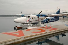 Floatplane in dock Stock Photography