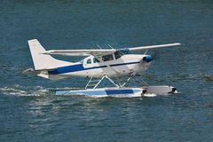 Floatplane in dock. Seaplane about to take off Royalty Free Stock Photos