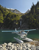 Floatplane - Rocky Mountains - Canada. Floatplane on Lake Loverley in the Rocky Mountains in British Columbia in western Canada Royalty Free Stock Image