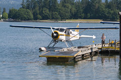 A floatplane in Vancouver. A Harbour air DeHavilland DHC-2 Beaver floatplane is moored near Canada Place, with Stanley Park visible in the background, Vancouver Royalty Free Stock Image