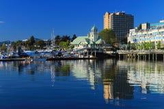 Floatplanes在纳奈莫港口,温哥华岛 库存照片