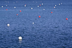 Floats. Red and White floats in the bay of Cadaques, Girona, Spain Royalty Free Stock Photo